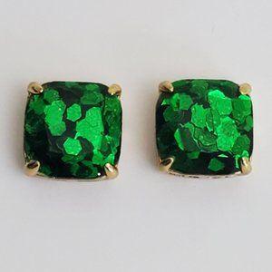 Kate Spade Square Emerald Green Glitter Earrings